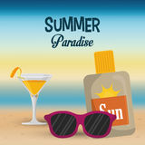 Summer paradise beach cocktail sunglasses and sun blocker Stock Photo