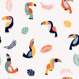 Summer paradise toucan vector seamless pattern. Summer paradise bird toucan vector seamless pattern illustration stock illustration