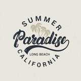 Summer paradise hand written lettering with palms illustration. Stock Image