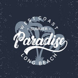Summer paradise hand written lettering with palms illustration. Royalty Free Stock Photo