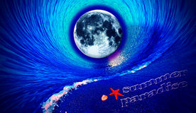 Summer paradise under big moon, and in the waves Royalty Free Stock Images