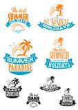 Summer paradize and holidays banners Stock Images