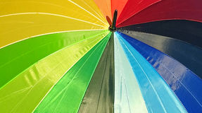 Summer parasol colours. Photo of a bright summer parasol umbrella showing colourful spectrum of colours taken 5th august 2017 Stock Photography