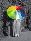 Summer parasol colours. Photo of a bright summer parasol umbrella showing colourful spectrum of colours taken 5th august 2017 Royalty Free Stock Photos