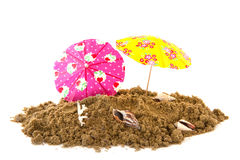 Summer parasols at the beach Royalty Free Stock Photo