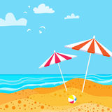 Summer Parasols on the beach. Royalty Free Stock Image