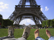 Summer in Paris - Final destination. In the park after the visiting the Eiffel Tower. The dream came truth Stock Images