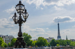 The summer in Paris. Sight of the bridge Alexander III, more beautiful view of Paris Royalty Free Stock Images