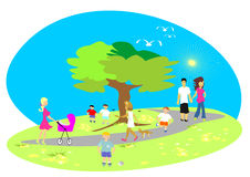 Summer in the park. Summer-lives in the park. The birds twitter. People go for a walk. A mother by her baby carriage. A young pair, children who play football. A royalty free illustration