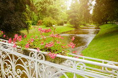 Summer park background with flowers on bridge Royalty Free Stock Photos