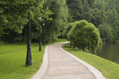 The summer Park. Beautiful, deserted Park in the summer tourist season Stock Photography