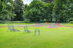 Summer park  and green lawns Royalty Free Stock Photo