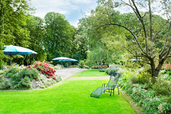 Summer park with green lawns and flower beds Royalty Free Stock Photos