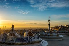 Summer Park Guell, Barcelona, Spain stock photography
