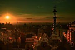 Park Guell Gaudi, Sunrise. Summer Park Guell, Barcelona, Spain royalty free stock photos