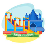 Summer park inflated attractions set colorful vector poster. Summer park inflated attractions collection in shape of castle colorful vector poster. Bouncy Stock Photos