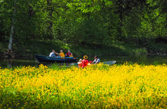 Summer Park with a lake. People traveling by boat among the beautiful greenery. Saint-Petersburg. The summer of 2017. Summer Park with a lake. People traveling Royalty Free Stock Images