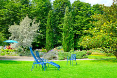 Summer park with lawn and recliner Stock Image