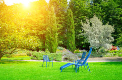 Summer park with lawn and recliner Stock Photography