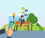 Girl resting in park, communicate by phone, through messenger. Stock Photos
