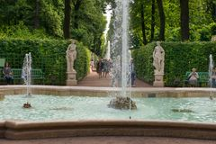 In the summer park. SAINT PETERSBURG, RUSSIA - AUGUST 18, 2017: Summer garden. This park is one of the oldest in Saint Petersburg, it was designed by Czar Peter Royalty Free Stock Photo