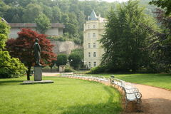 Summer park with sculpture of prof.Pavlov. Dvorak Park in Karlovy Vary Czech Republic-1882 Royalty Free Stock Image