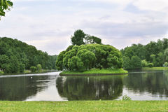 Summer park, trees. Tsaritsyno Museum. View of green meadow and trees. Walk through the park in summer at the museum Tsaritsyno Moscow Stock Image