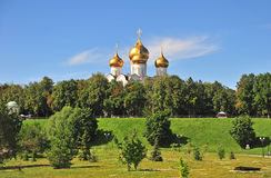 Summer park in Yaroslavl old town Stock Images