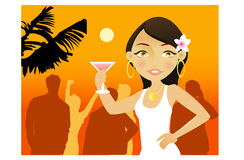 Summer party. Young woman with cocktail in a summer party Royalty Free Stock Photos