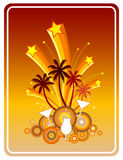 Summer Party. Symbolic illustration in retro style of a fun beach party with coconut trees, cocktails, martinis, exploding fireworks and stars Stock Image