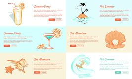 Summer Party and Adventure Vector Web Banner. stock illustration