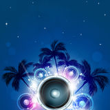 Summer Party Background. Summer tropical party night pacific music background with palms and sound speaker Royalty Free Stock Images