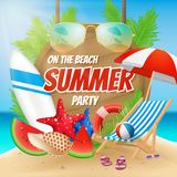 Summer party on the beach poster design Royalty Free Stock Photo