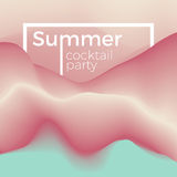 Summer party concept. Summer party flyer background concept. Illustration of cocktail waves in chilly colors. Stylish invitation template Royalty Free Stock Photo