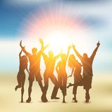 Summer party crowd. Silhouette of a party crowd on a summer themed background Royalty Free Stock Photo