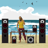 Summer party: DJ afro man and his equipment, dance music. Set of Royalty Free Stock Photo