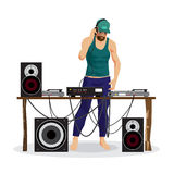 Summer party: DJ and his equipment, dance music. Set of loudspea Royalty Free Stock Images