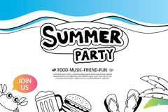 Summer party with doodle icon and design on white background. In Stock Photography