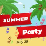 Summer party flat vector banner template. Summertime celebration, beach club festival invitation layout. Stylized red. Ribbons with text on blue sea, sand royalty free illustration