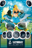 Summer Party Flyer Blue Royalty Free Stock Photo