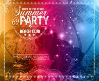 Summer Party Flyer for Music Club events vector illustration
