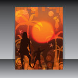 Summer party flyer orange sunset Stock Images