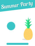 Summer party flyer with pineapple Stock Photos