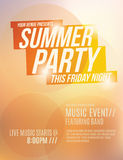 Summer Party Flyer Template. Bright orange sunset summer party flyer template design stock illustration