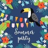 Summer party greeting card, invitation, invitations with hand drawn palm leaves, hibiscus flowers, toucan bird and party. Flags. Tropical jungle design, vector Royalty Free Stock Images