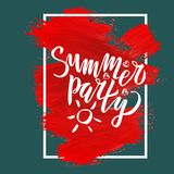 Summer party hand drawn lettering phrase on brush strokes in the frame. Vector illustration with hand lettering. Calligraphic royalty free illustration