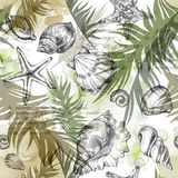 Summer Party holiday background, watercolor illustration. Seamless pattern with sea shells, molluscs and palm leaves. Tropical texture in romantic colors. Can Royalty Free Stock Images