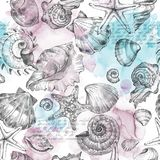 Summer Party holiday background, watercolor illustration. Seamless pattern with sea shells, molluscs, text and color. Splashes. Tropical texture. Can be used Stock Images