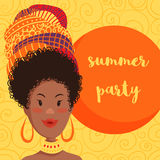 Summer party invitation design with cartoon beautiful African woman in turban with ethnic geometric ornament. Royalty Free Stock Image