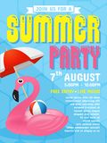 Summer party invitation flyer background template design Stock Photo